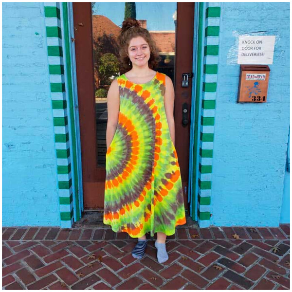 Tie Dyed Sleeveless Dress - Psychedelic Neon