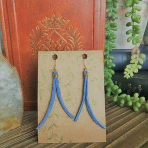 Blue Leather Dangle Earrings