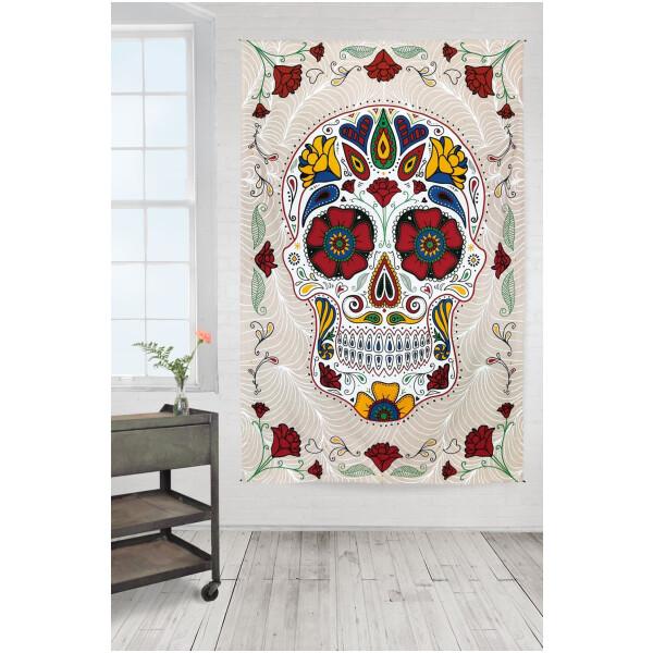 3D Sugar Skull White Tapestry