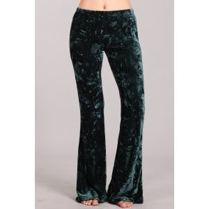 Velvet Flare Pants in Dark Pine