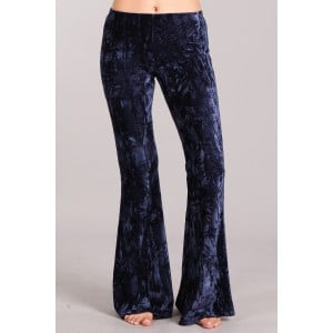 Velvet Flare Pants in Navy