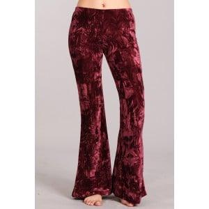 Velvet Flare Pants in Wine