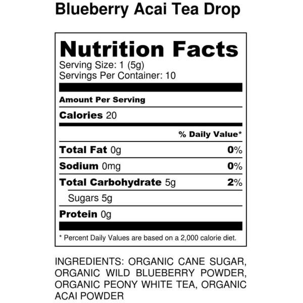 Blueberry Acai Tea Drop - Nutrition Label