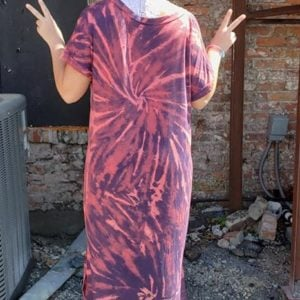 Custom Dye Short Dolman Sleeve Curved Hem Maxi Dress