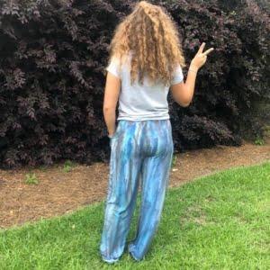 Drawstring Lounge Pants - Blue Tiger - Back View