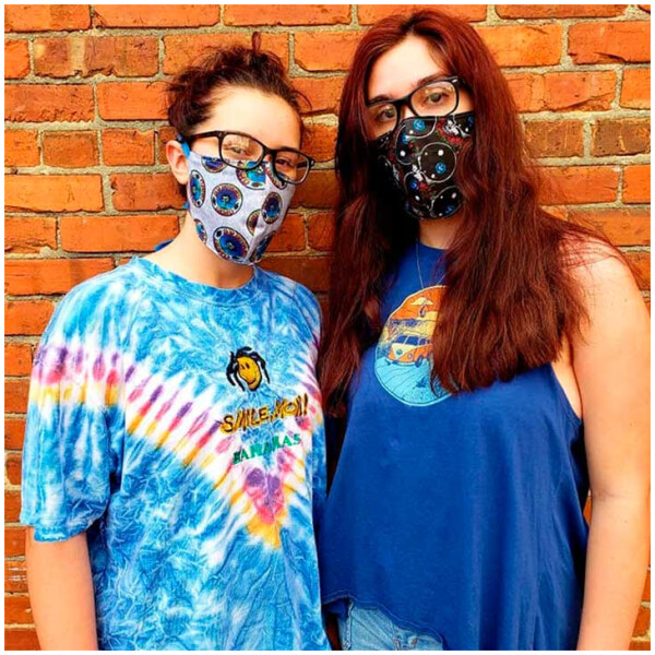 Grateful Dead Face Mask Cover with Filter Pocket and Tie Straps