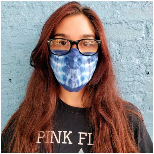 Indigo Shibori Tie Dyed Cotton Masks with Filter Pocket