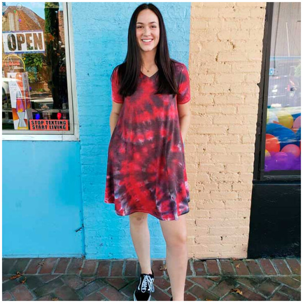 Tie Dyed Dress - Red and Black