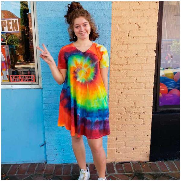 Tie Dyed Dress – Rainbow V-Neck