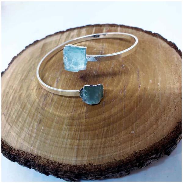 Crystal Cuff Bracelet - Aquamarine