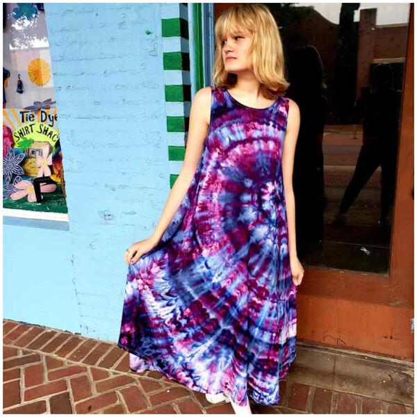 Tie Dyed Sleeveless Dress - Purple
