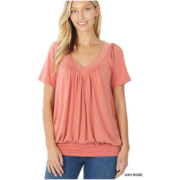 V neck Short Sleeve Shirring Top