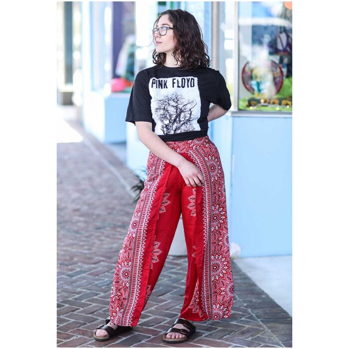 Red and Black Split Leg Pants