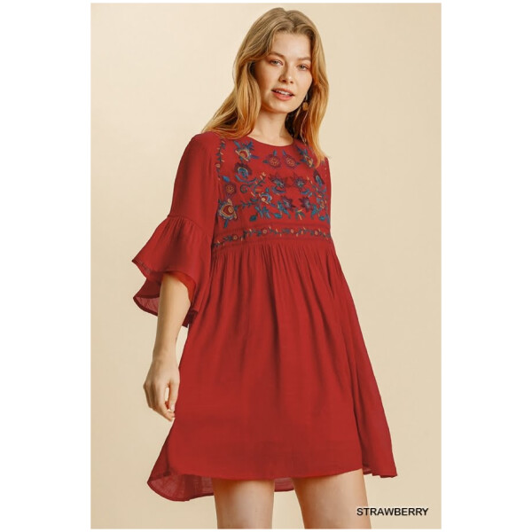 Floral Embroidered Babydoll Dress