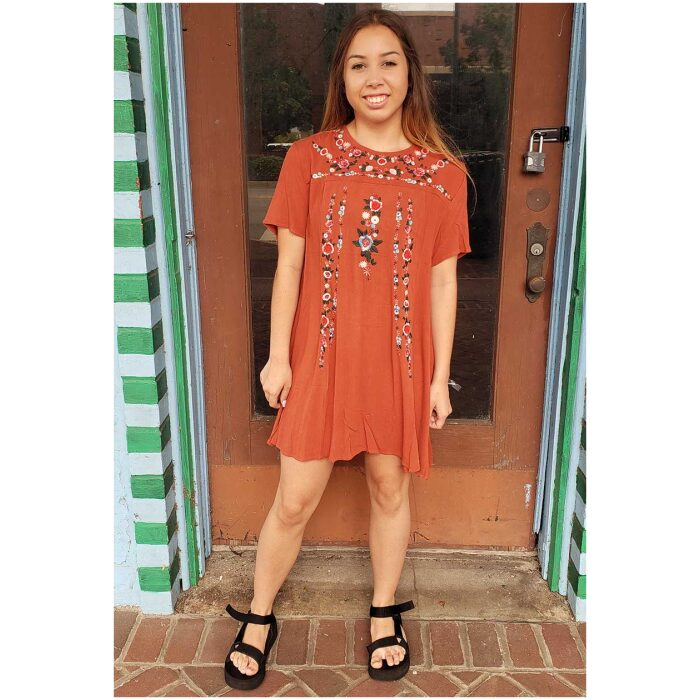 Embroidered Terracotta Dress