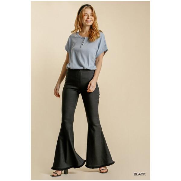Elastic Waistband Flare Pants
