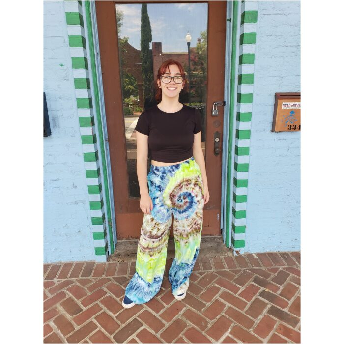 Blue Green Brown Tie Dyed Woven Pants